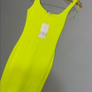 Zara Lime Green Bodycon Dress Sz Small